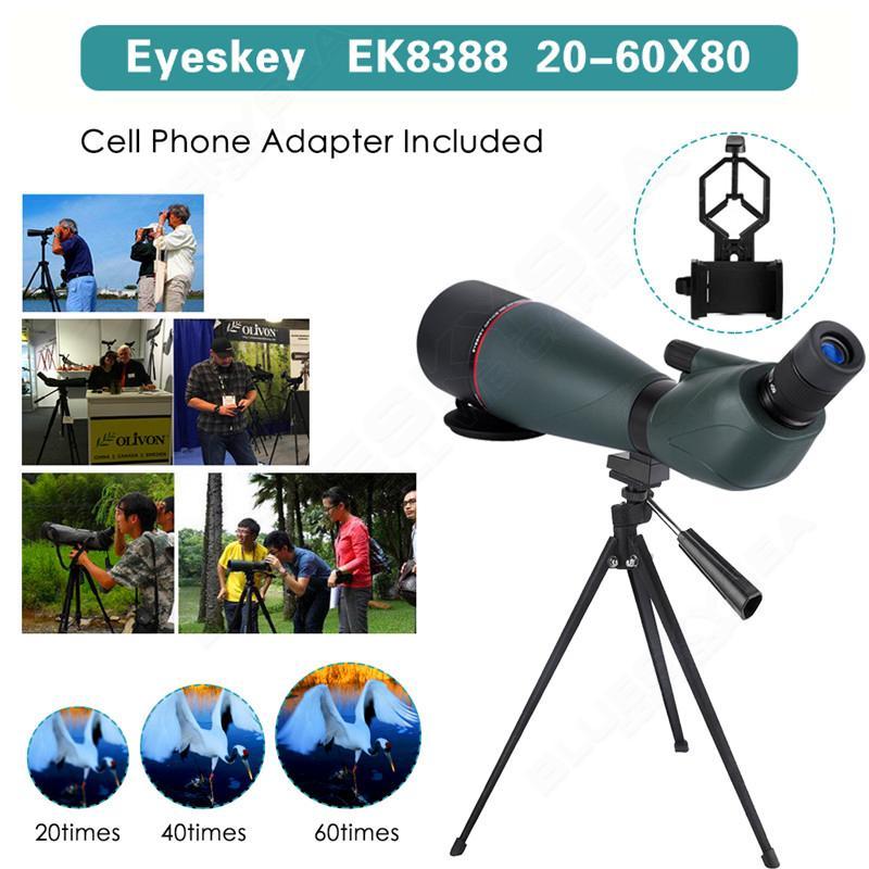 Eyeskey 20-60x80mm Zoom Spotting Scope Hunting Bird Watching Telescope Alignment w/Phone Adaptor Soft Case Outdoor 8x zoom telescope lens back case for samsung i9100 black