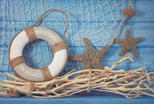 HUAYI  life buoy decoration on blue shabby background Photography Newborn Backdrop XT4346