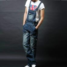 Мужская плюс размер карман комбинезоны Моды джинсы для любителей Свободные комбинезоны мужские шорты Бесплатная доставка