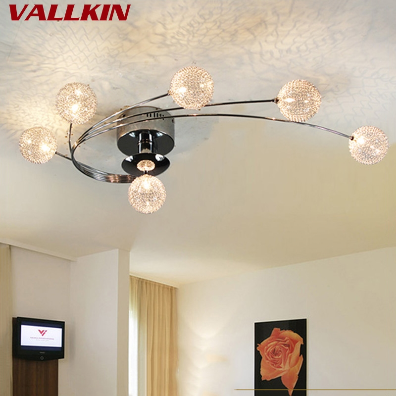 VALLKIN Modern LED Ceiling Lights For Living Room Bedroom Indoor Ceiling Lamp Lighting Fixtures with 6 Lights Aluminum Lampshape noosion modern led ceiling lamp for bedroom room black and white color with crystal plafon techo iluminacion lustre de plafond