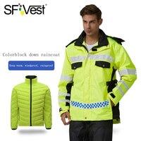 SFVest высокая видимость Светоотражающая Водонепроницаемая дождевая теплая куртка непромокаемое пальто + пуховик