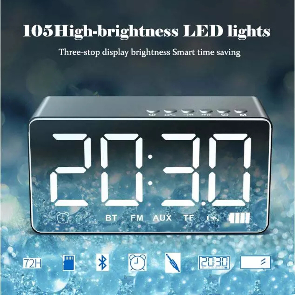 Stereo LED Music Player Q9 Alarm Clock With FM Radio Wireless Outdoor Speaker Mirror Surface Speaker Outdoor Bluetooth Altavoz portable bluetooth speaker wireless alarm clock music stereo soundbox time display fm radio tf card altavoz speakers for phones
