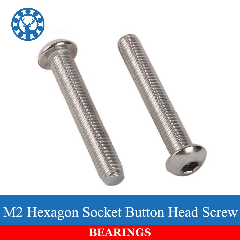 50Pcs M2 ISO7380 GB70.2 304 Stainless Steel A2 Round Head Screws Mushroom Hexagon Socket Button Head Screw Free shipping 10pcs din7380 button head socket cap screw 304 stainless steel round pan head screws m5 30mm