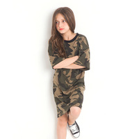 Camouflage Girls Dress for Teenage Europe Style Short Sleeved Summer Dress Fashion Kids Clothing Real Shot for 6 8 10 12 14 Year