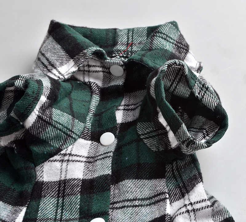 Nhỏ Pet Puppy Dog Cat Kẻ Sọc Lưới Sweater Yếm Jumpsuit Coat Jacket T-Shirt Shirt Áo Quần Áo Phục Trang Phục SL Mùa Xuân