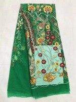 Французская Кружевная Ткань 5yds/pce по dhl зеленые кружева с цветочными узорами и камнями для женщин праздничное платье 2018 высокое качество тка