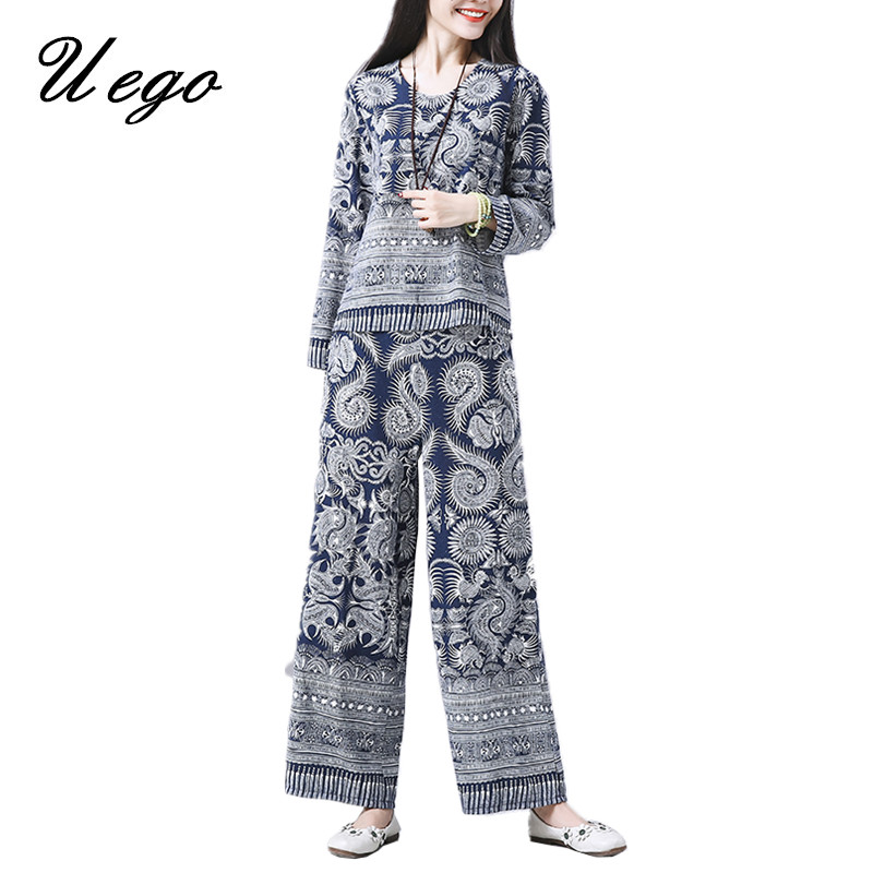 Uego 2019 New Arrival Spring Two Piece Set Women Clothes Suits Chinese Style Cotton Linen Printing Tops+long Pants Casual Sets