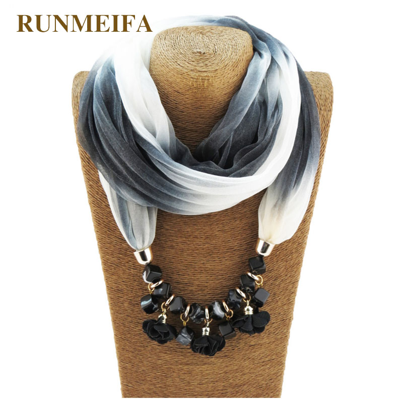 [RUNMEIFA]Spring Summer Style 175*45CM Warm Scarf Charm Shawl Water Drop Pendant Acrylic Necklace Wraps Jewelry Vintage Pashmina