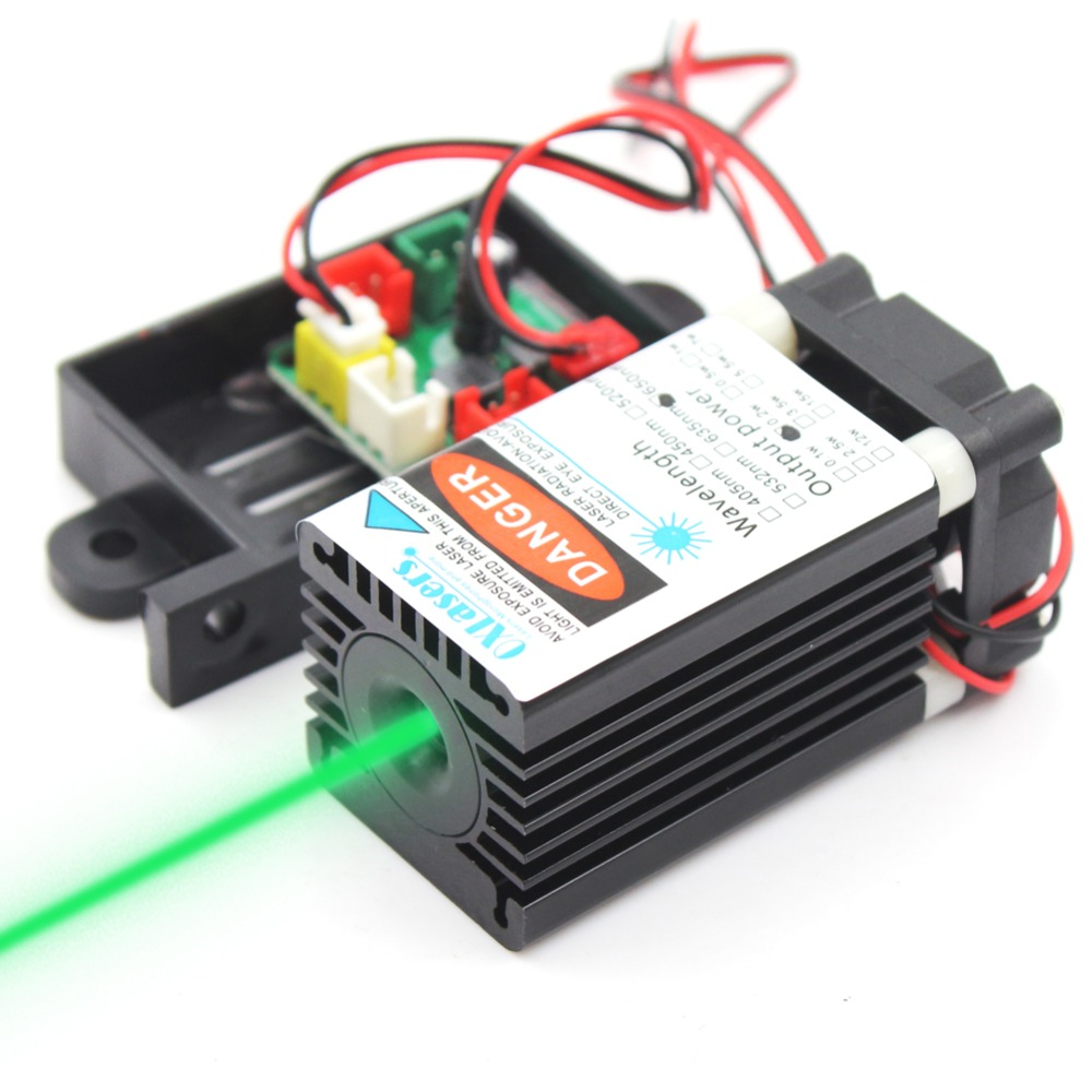 Oxlasers 520nm Green Laser Modules 100mW 505nm 515nm Green Laser 12V With DC Adapter And Cooling Fan TTL Laser Free Shipping