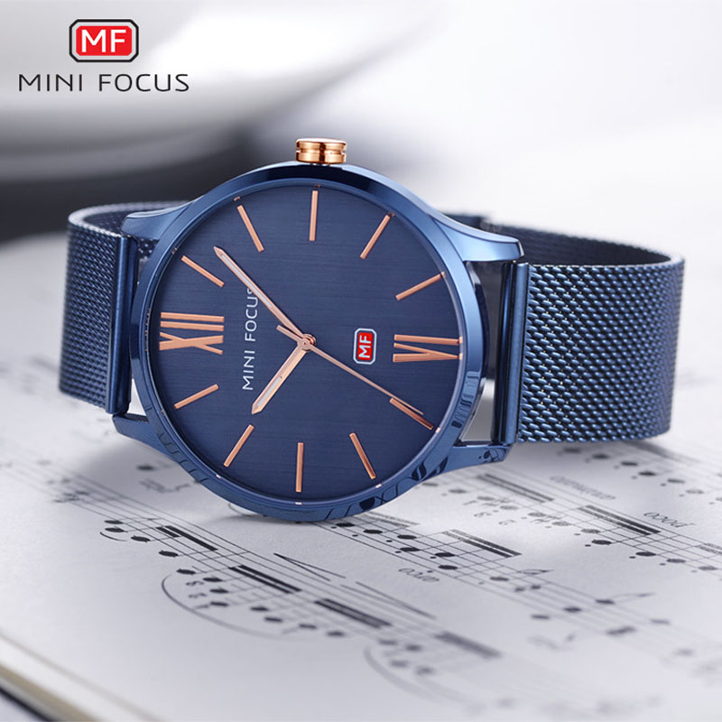 MINI FOCUS NEW Brand Men Quartz Watches Men's Business Clock Man Simple Dial Stainless Wrist Watch Calender Relogio Masculino fashion fngeen brand simple gridding texture dial automatic mechanical men business wrist watch calender display clock 6608g
