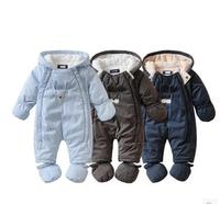 Newborn Winter Baby Rompers Girls Windproof Rompers Children Warm Outdoor Rompers Kids Jumpsuits