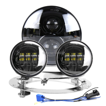 """7 Inch LED Headlight Projector Hi/Low+7""""Headlight Mounting Bracket Ring&4.5""""Passing Auxiliary Fog Lights For Electra Glide"""