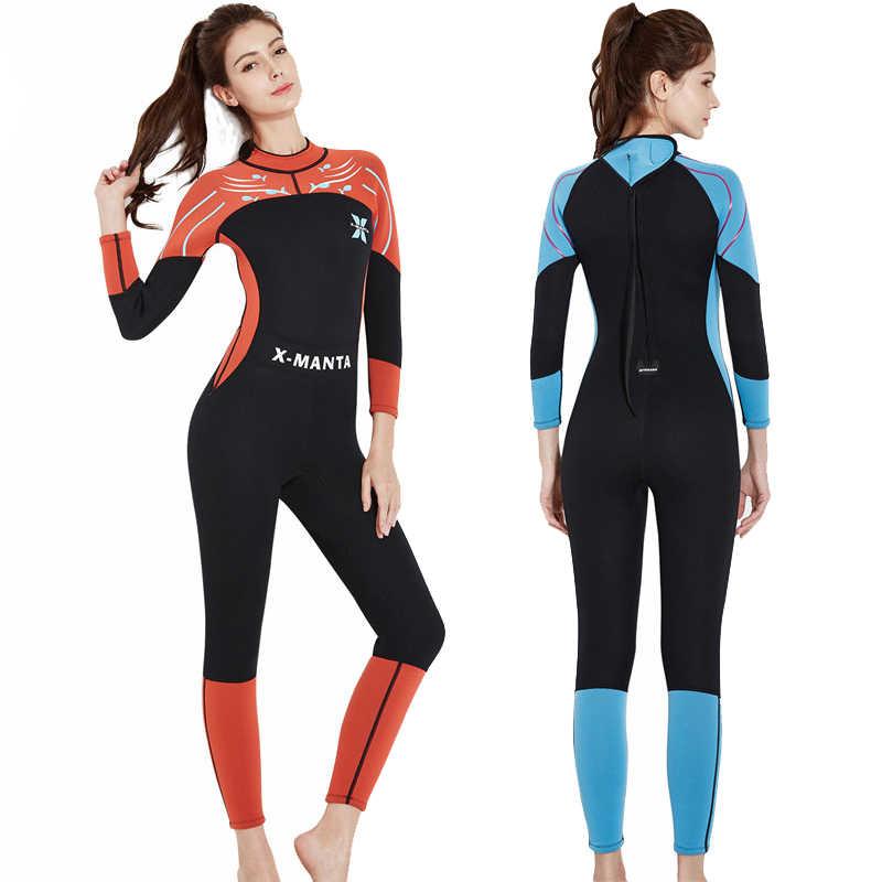 3mm dalış pantolon termal sıcak neopren Wetsuit kadınlar kış tam uzunlukta Bodysuit traje neopreno hombre sörf dalgıç kıyafeti