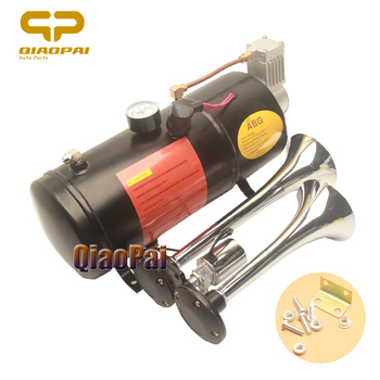 Universal 12V Car Air Horn Compressor 150 Psi with 2 Pipes Horn System Solenoid Valve 3L150DB for Train Trumpet Boat Super Loud