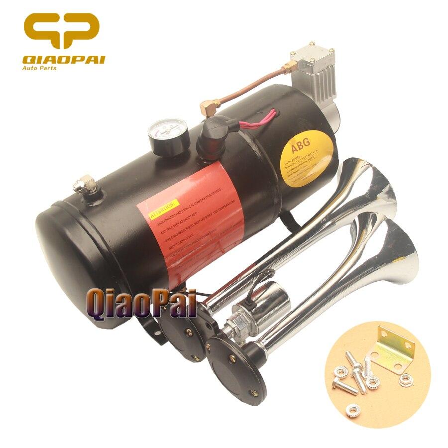 Universel 12 V voiture Air klaxon compresseur 150 Psi avec 2 tuyaux corne système électrovanne 3L150DB pour Train trompette bateau Super fort