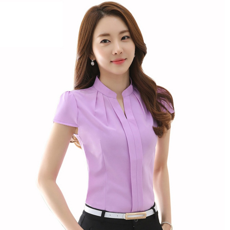 Hot S Summer Women Elegant Chiffon Short Sleeve Office Shirt Tops Blouses Slim Solid Color Plus Size Blusas In Shirts From