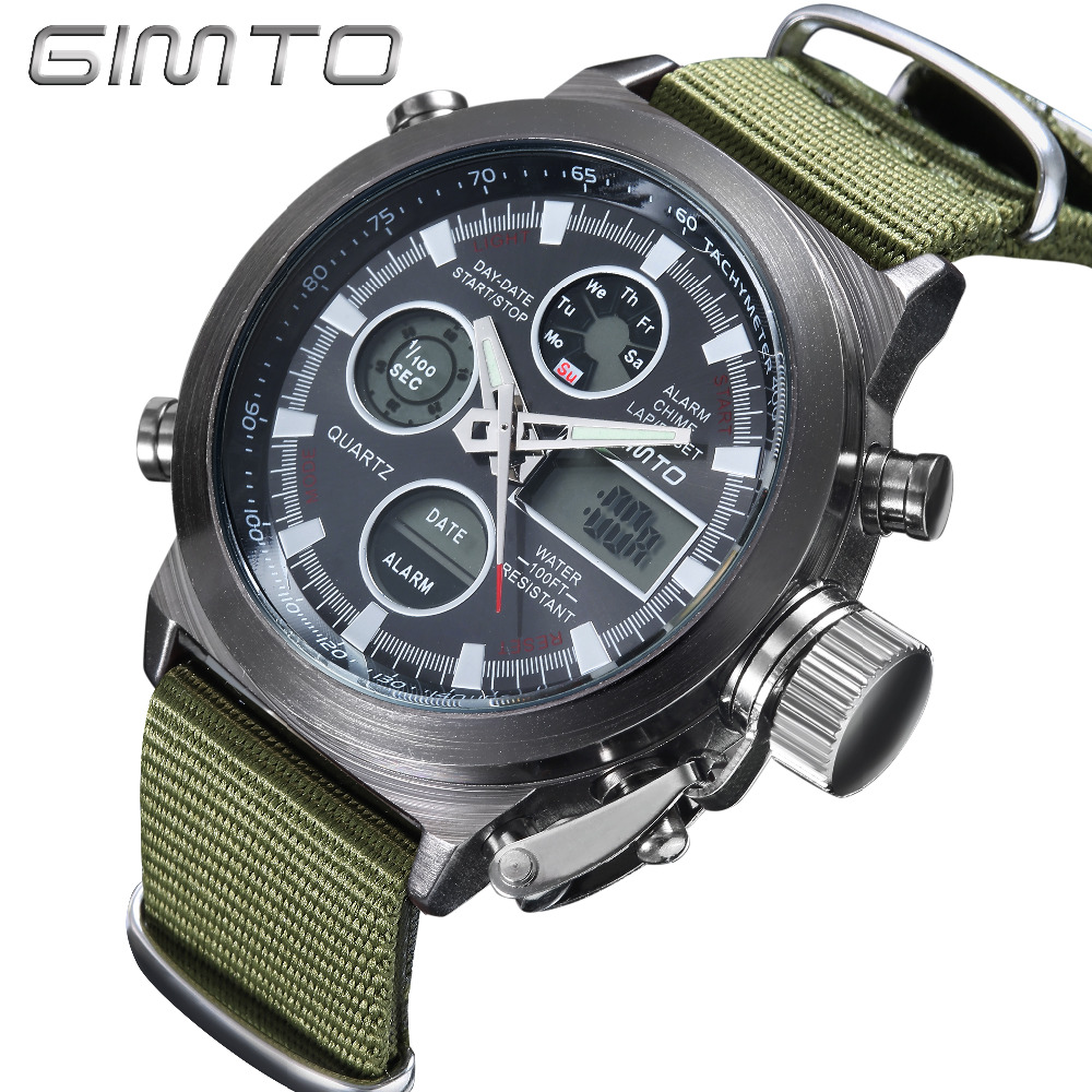 2018 Brand GIMTO Quartz Digital Sports Watches Men Leather Nylon LED Military Army Waterproof Diving Wristwatch Men's Watch