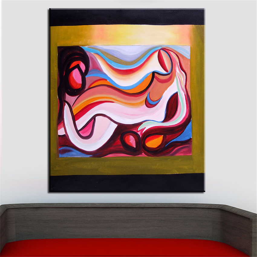 NO FRAME Printed black borders ABSTRACT Oil Painting Canvas Prints ...