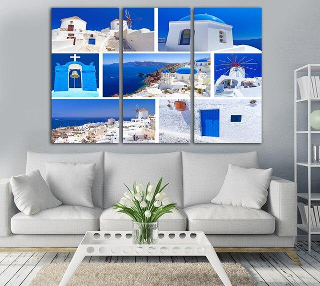 Unframed Mediterranen Stil Dekoration HD Gedruckt Leinwand Malerei Haus  Unter Blauen Himmel Klar Landschaft Wandbild