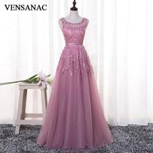 VENSANAC 2018 O Neck A Line Lace Appliques Long Evening Dresses Elegant Pearls Party Illusion Back Sash Prom Gowns