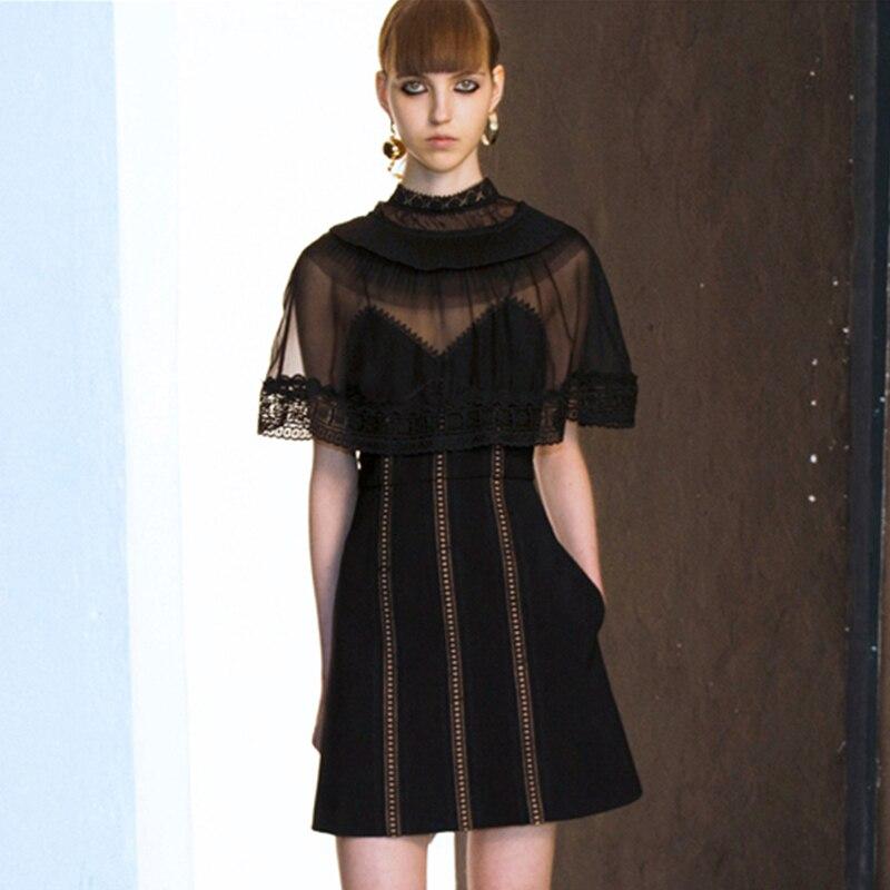 2018 Lala Ikai Women Trimmed Mini Dress Overlay Sheer Black