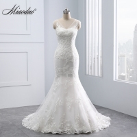 Miaoduo Mermaid Wedding Dresses 2018 Lace Pearls Appliques Bridal Gowns Vestido De Novias Princess Luxury Cathedral Train