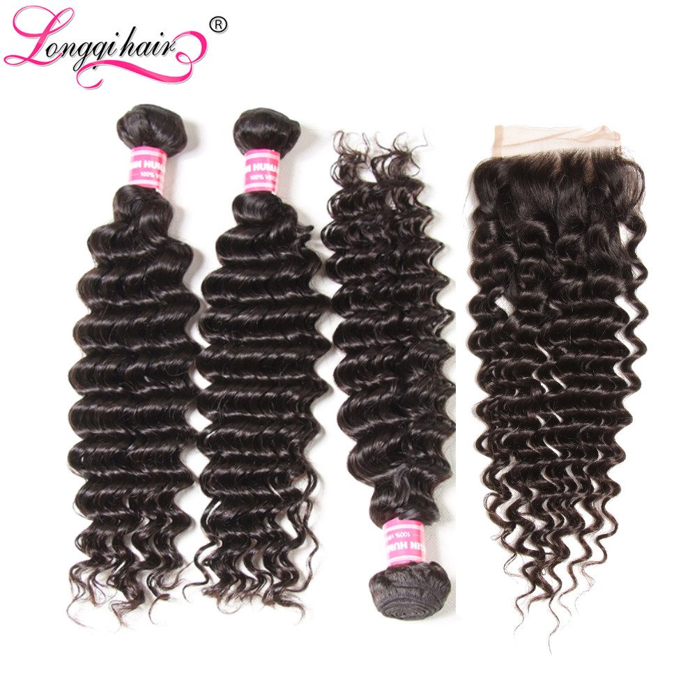 Longqi Peruvian Hair Bundles With Closure Free Part Deep Wave Remy Hair Lace Closure With Human