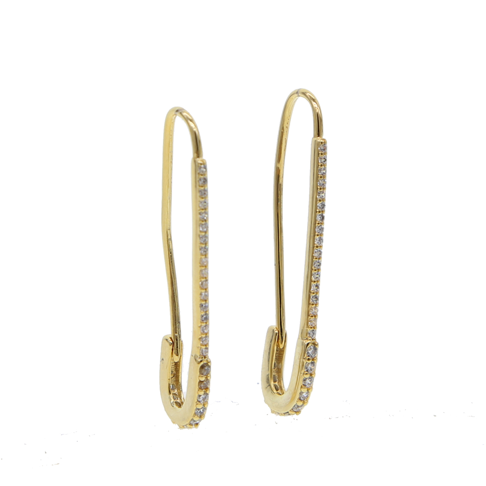 Fashion Safety Pin Long Earrings yellow Gold color Earings european usa Earrings For Women Jewelry