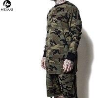 Yeezy Oversized Camo Hip Hop Justin Bieber Clothes Street Wear Kpop Urban Clothing Mens Long Sleeve