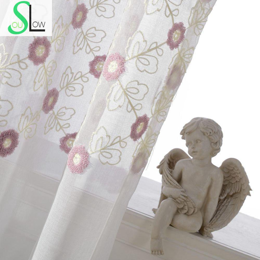 Color Towel Embroidery Thread Curtain Pink White