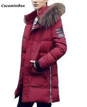 Cocominibox Men's Front Zipper Hoodie Long Parkas Coat Winter Outerwear