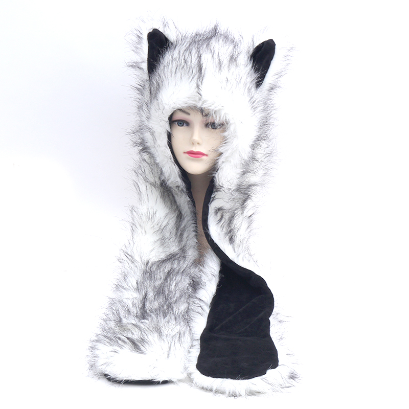 Faux Fur Hood Animal Hat Ear Flaps Hand Pockets 3in1 Animal Hood Hat Wolf Plush Warm Animal Cap with Scarf Gloves Free Shipping mr z 1 6 set steppe wolf animal 20 cm lenght in stock