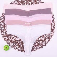 49e20635a Mulheres leopardo rendas lingerie Sexy Tangas G-string Calcinhas Roupa  Briefs Para T-back