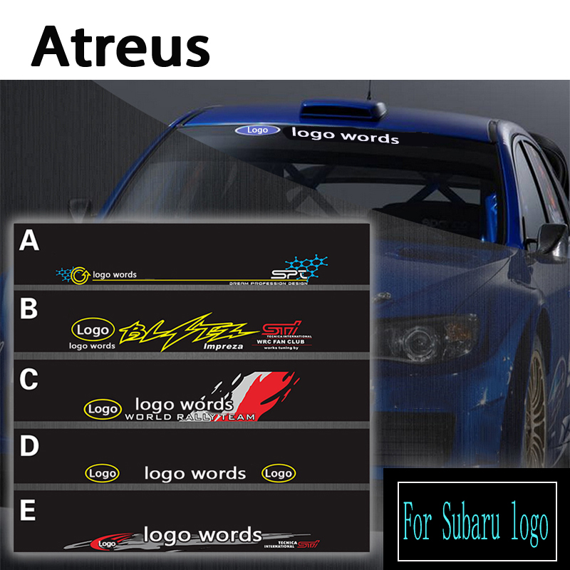 Atreus 1pcs Car logo Front Window Windshield Decal Reflective Stickers For Subaru Forester Impreza XV Styling Accessories Covers car boot trunk net auto accessories for hyundai accent santa fe infiniti fx subaru forester impreza xv car accessories