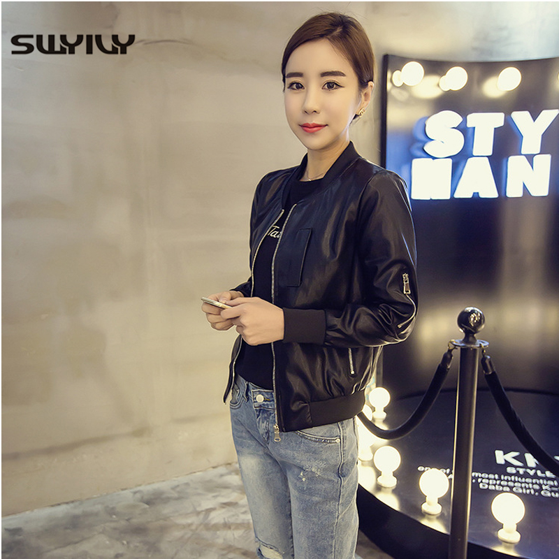SWYIVY Women Leather Jacket Coats PU Short Design 2019 Spring New Female Slim Solid Coat Outwear Woman Leather Jackets Black XL
