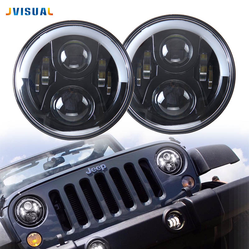 7 DRL Motorcycle Headlight LED Projector Daymaker Black H4 Headlamp For Jeep CJ Wrangler Land Rover Humme Street Glide FLHX partol 1pc black 7 round led headlight drl daymaker projector headlamp car light hi lo beam for jeep wrangler land rover lada
