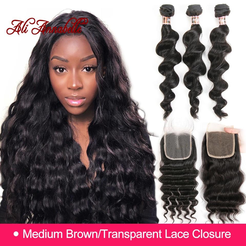 ALI ANNABELLE HAIR Brazilian Loose Wave Lace Closure Free Middle Part 4PCS Human Hair Bundles With Closure Remy Hair Extension-in 3/4 Bundles with Closure from Hair Extensions & Wigs