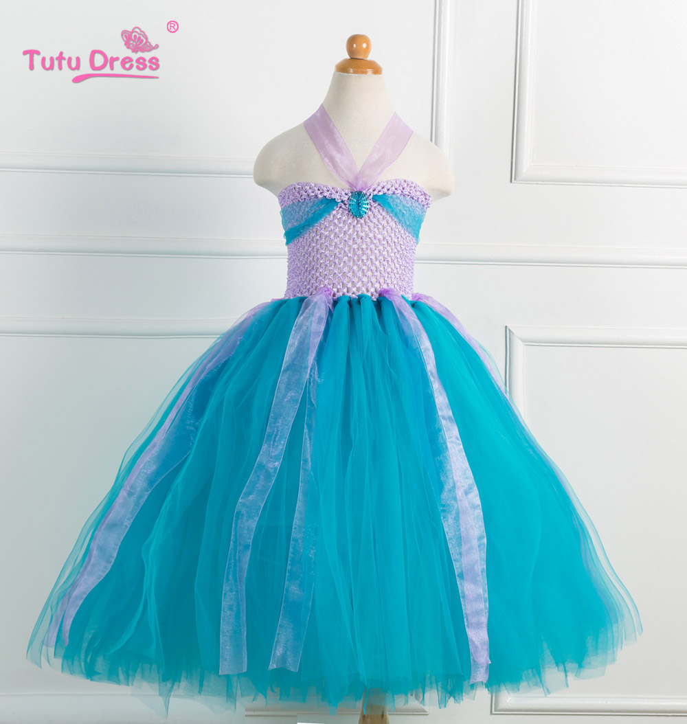 The Little Mermaid Kids Girls Dresses Princess Ariel Cosplay Halloween Costume Baby Girls