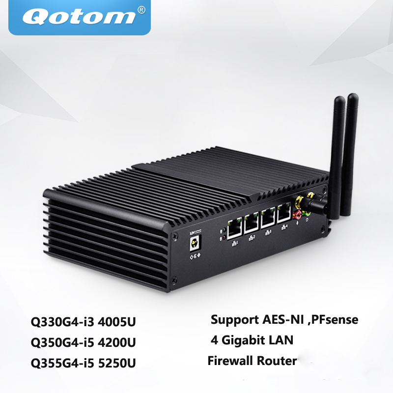 Qotom Mini PC With Core I3 4005u I5 4200u  AES-NI DDR3 4 RJ45 Ports ,Firewall Home Router Computer QOTOM-Q355G4