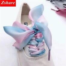 1 Pair Gradient Satin Ribbon ShoeLaces 4CM Width Organza Sneaker Shoelace 80CM/100CM/120CM/140CM Length JB-1