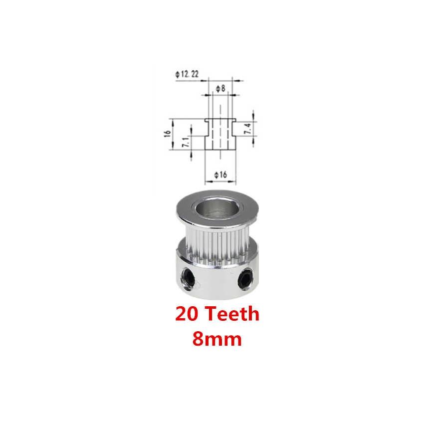 Peças da impressora 3d gt2 20 dentes 16 dentes, 5mm/8mm alumínio polia de sincronização correia dentada aberta GT2-6mm