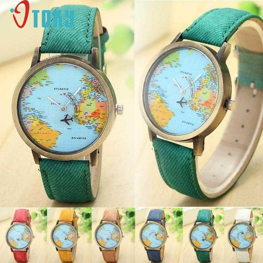 Быстрая отправка кварцевые часы новый бренд карта женское платье часы ремешок из джинсовой ткани Глобальный путешествия на самолете печати часы Прямая доставка