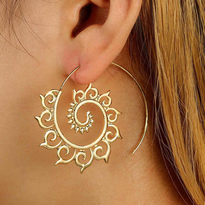 Yeni Moda Altın Gümüş Tavuskuşu Spiral Damla Küpe Kadınlar için Kabile Punk Daire Dangle Küpe Bildirimi Takı CE638