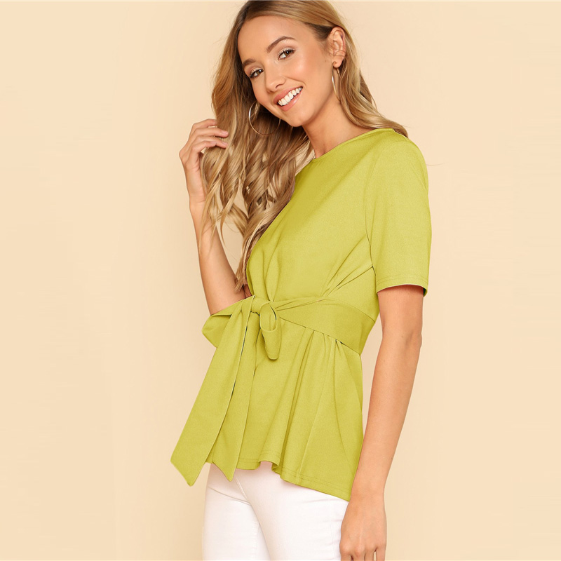 Sheinside Self Belt Keyhole Back Blouse Solid Short Sleeve Top 18 Summer Women Office Ladies Work Elegant Blouse 31
