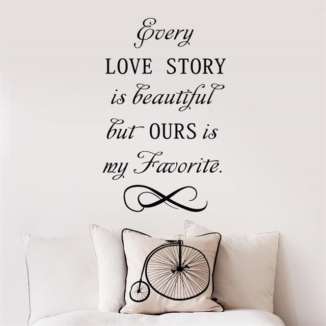 New quotes wall stickers DIY Every love story is beautiful wall ...