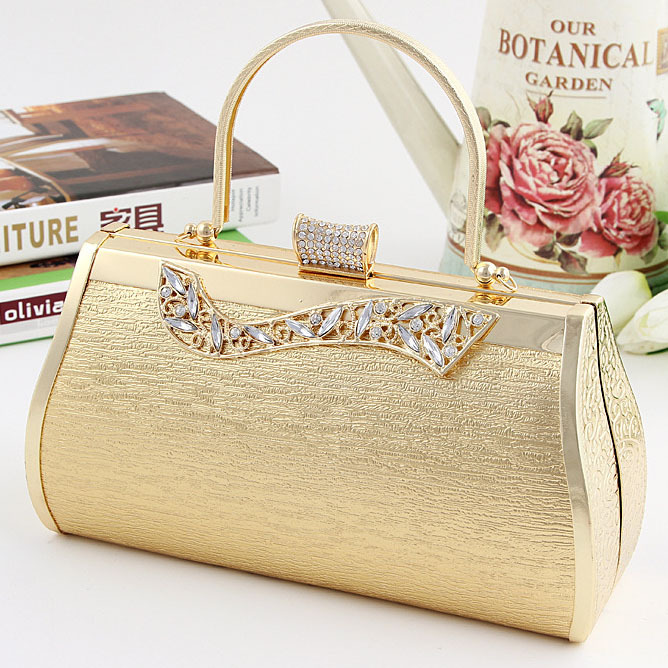 2017 Fashion Gold Evening Bag Wedding Clutch Bride Purse Rhinestone Bags With Long Chain Free Shipping In From Luggage On