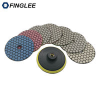 4 Inch Dry Diamond Polishing Pad 7pcs Backer Granite Marble Concrete Ceramic Stone Work Restoration Grinding