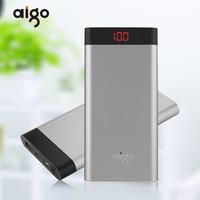 Aigo 10000mAh Powerbank Super Thin LCD Digital Display Type C Micro USB Dual Inports Portable Mobile