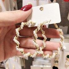 2019 New Fairy Elegant Personality Wild Pearl Hoop Earrings Hyperbole Big Round Fashion Jewelry For Women Girls Gift