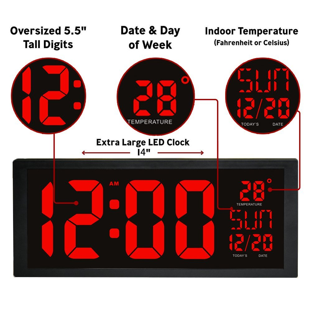LED Digital Wall Clock With Fold Out Stand For Tabletop Placement Displays  Indoor Temperature Calendar Date And Week Home Decor In Wall Clocks From  Home ...